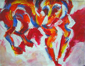 Untitled (red/orange/blue dog)