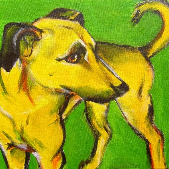Untitled (Yellow dog on green)
