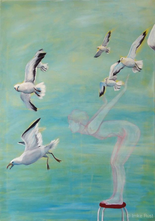 Learning to Fly  (Acrylic on canvas, 100 x 70cm, 2013, by Imke Rust)