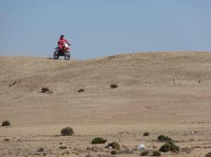 Motorcycles and plastic bags in the desert