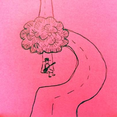 Tate Kuru, a Tree and the road - Sketch