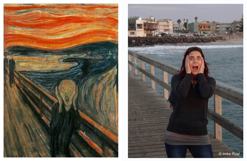 Me re-enacting the Scream by Edvard Munch on the Swakopmund Jetty.