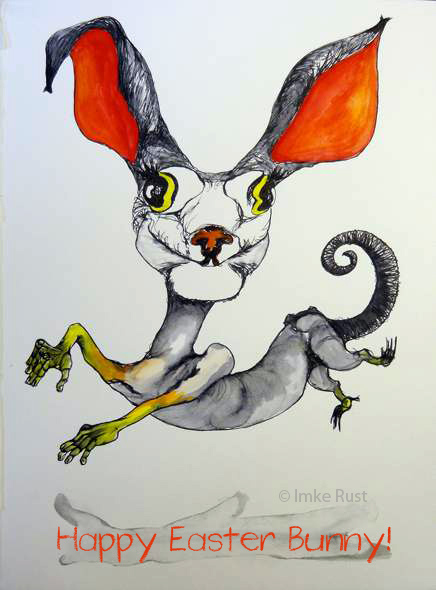 Happy Easter Bunny (Ink & watercolour on A4 watercolour paper + digital text added) by Imke Rust ©