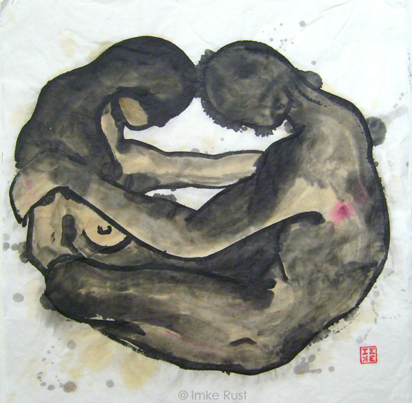 Yin & Yang from the 'wo-man' series (Ink on rice paper, 70 x 70cm by Imke Rust) © Imke Rust