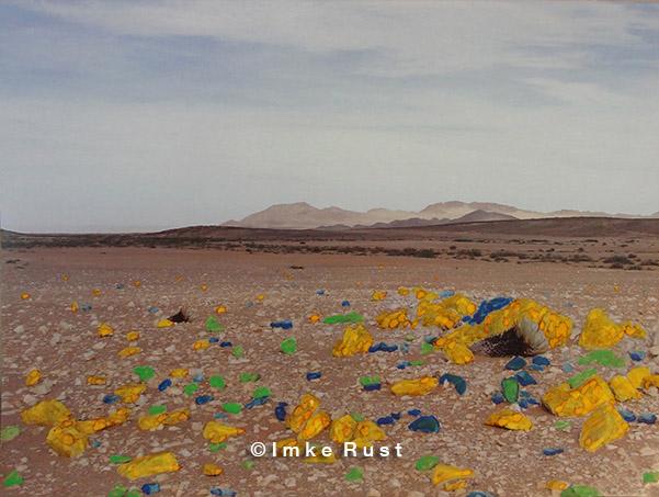 Chemical Reaction Hand-coloured photo of the Namib Desert Photo, Acrylic 15 x 20cm