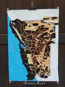 What will be left Acrylic and cutting away of tourist map 69 x 49cm