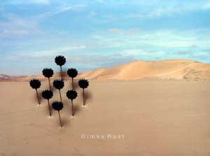 Mini SubRosa Photo of the Namib Desert, acrylic, cardboard (Recycled), wood glue, decorative pins 14 x 19,5 x 1,7cm