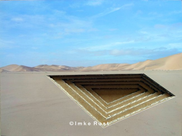 Open Pit Near You Photo of the Namib Desert, acrylic, cardboard (Recycled), wood glue 14,7 x 19,7 x 1,7cm