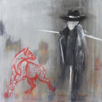 Hyena and Scarecrow, Acrylic on canvas, 50x50cm ©ImkeRust
