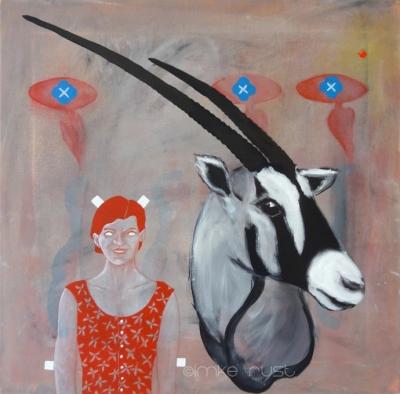 Girl with Oryx Head, Acrylic on canvas, 50x50cm ©ImkeRust