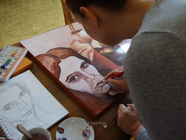 Busy with adding a portrait to the flower print.