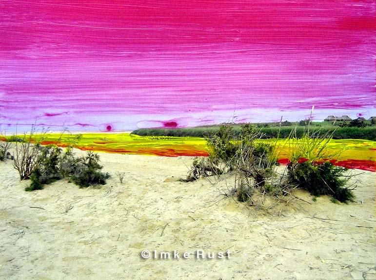 Toxic Flow Hand-coloured photo of the Namib Desert Photo, Acrylic 15 x 20cm