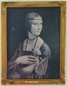 Before: Faded art print of  'Portrait of a Lady with An Ermine' by da Vinci