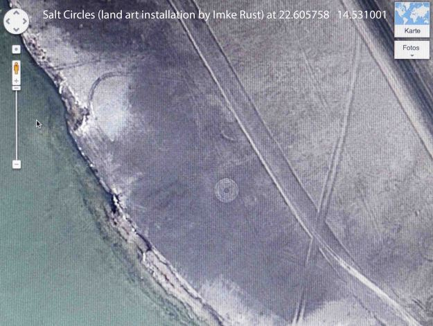Land art installation 'Salt Circles' by Imke Rust, as seen on Google Satellite View.