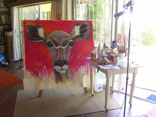 A kudu in my studio - not yet finished.