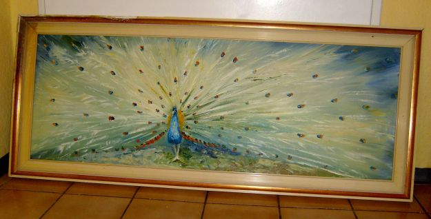 Found Peacock Painting by S (or V?) Wolters. Undated