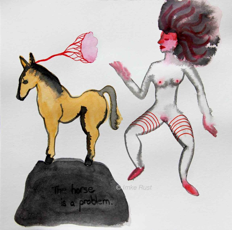 The Horse is a Problem Ink & watercolour on paper, 20x20cm by Imke Rust
