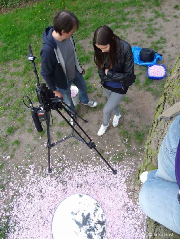 The camera crew seen from up the tree