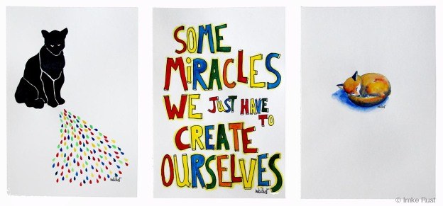 Some miracles... 3 artworks by Imke Rust (Guache, ink and pen on 170g/m2 acid free paper, each 21 x 29,7cm)