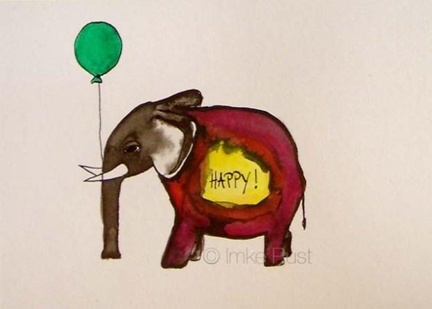 Happy by Imke Rust (Ink on 250g/m2 acid-free watercolour paper, 14,8 x 10,6cm)