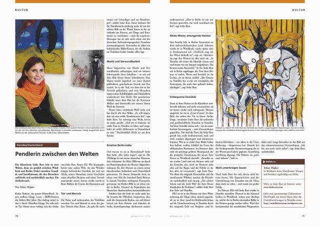 Magazin spread of the article in the Afrikapost Magazin (2/2014/Juni)