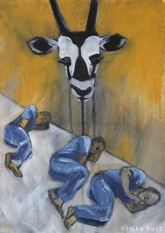 Crying Oryx (Acrylic & charcoal on canvas) ©Imke Rust