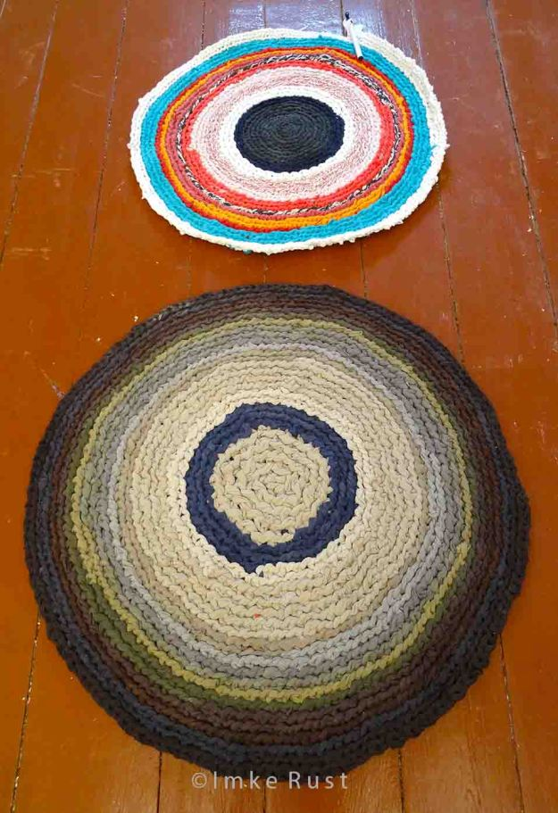 Hand-made T-shirt yarn carpets (one still in progress)© Imke Rust