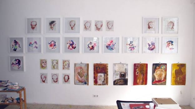 A picture taken during the hanging of the exhibition with works by Uta Göbel-Groß, Satadru Sovan and Imke Rust