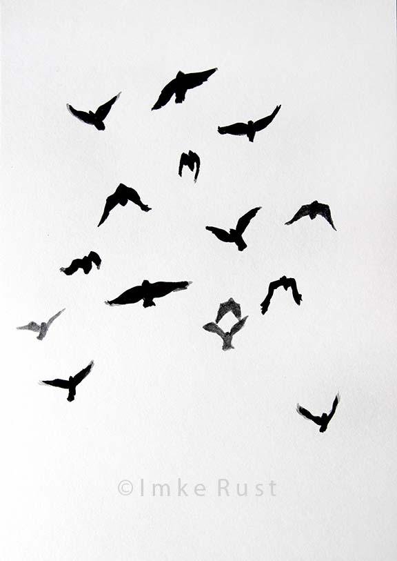 Flying Crows, Far Away, Ink on acidfree paper 170g/m2 29,7 x21cm, © Imke Rust