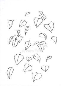Falling Leaves, Pen on acidfree paper 170g/m2 29,7 x21cm, © Imke Rust