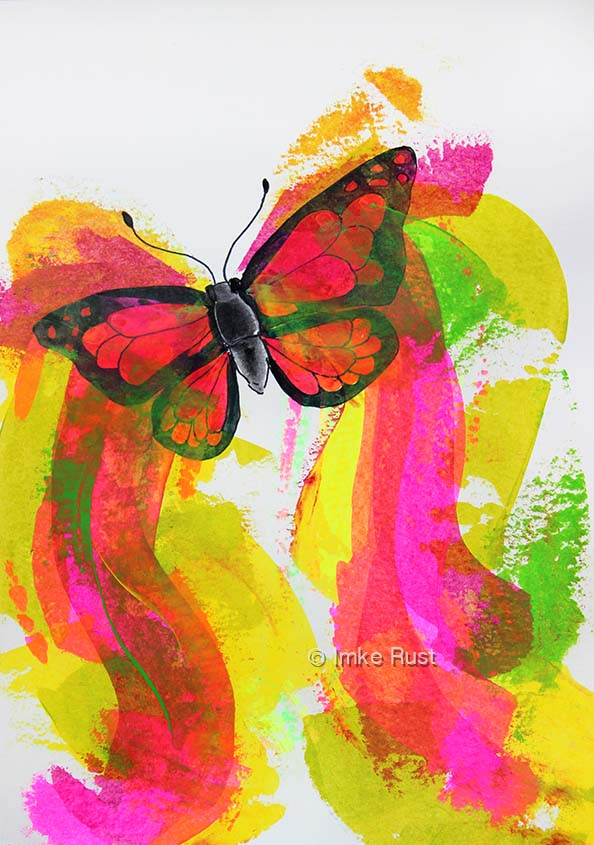 Neon Butterfly, Acrylic on acidfree paper 170g/m2 29,7 x21cm, © Imke Rust