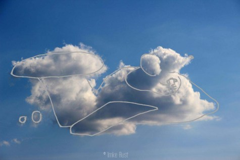 Cloud Flying Mouse, Digitally manipulated photograph, © Imke Rust