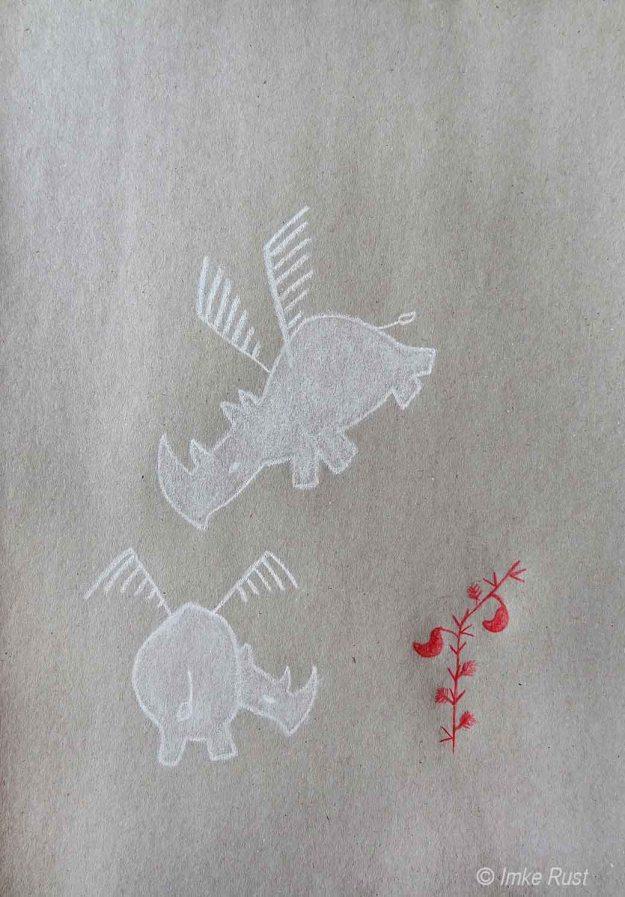 Rhino Angels, Pencil on  grey paper 110g/m2 29,7 x21cm, © Imke Rust