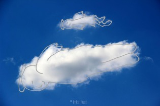 Cloud Two Angels Floating Along, Digitally manipulated photograph, © Imke Rust
