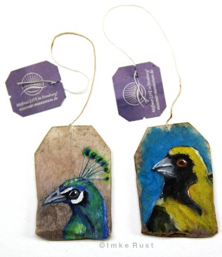 Teabag Totem Series (Peacock and Masked Weaver)