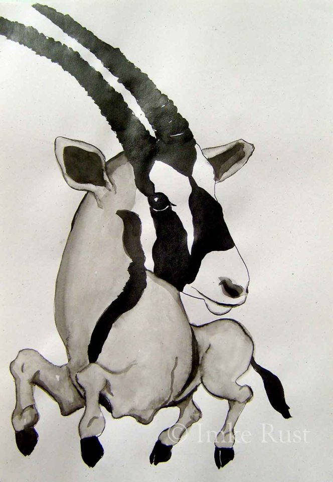 Oryx,42x29cm, Chinese Ink on paper