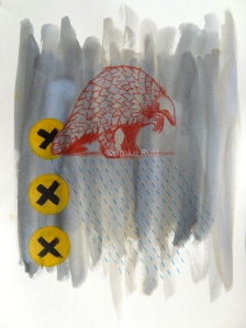 Pangolin Extinction, Mixed Media on paper, A4