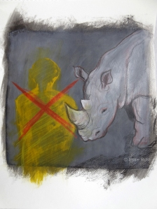 Rhino Poaching, Mixed Media on paper, A4