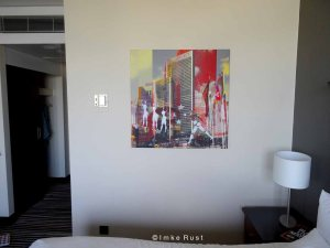 The room and unique, personalized art work.