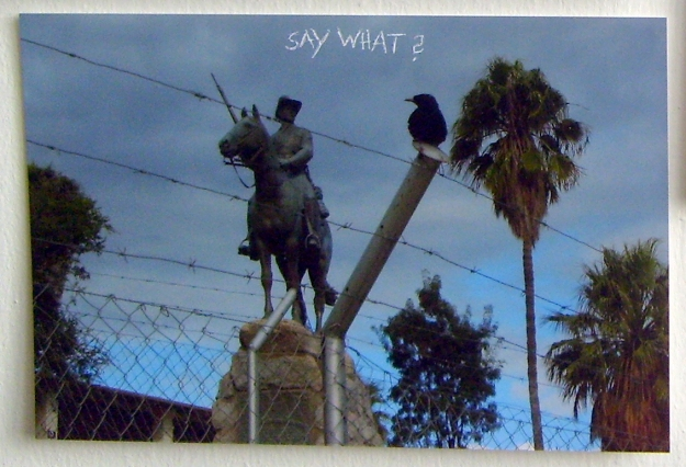 Say What? Secret dialog happening between the rider statue and a bird. (Photograph with scratched text) 10x15cm