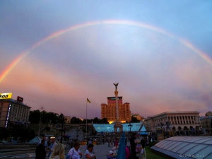Looking at the hotel and a stunning rainbow over the Maidan, Kiev