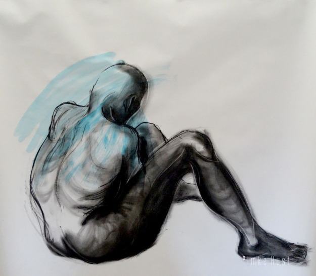 Untitled (sitting person) Charcoal and Acrylic on paper, 105 x 135cm by Imke Rust