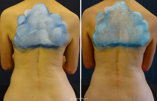Rainmakeress: Cloud painting on body and adding water to let it 'rain' (Imke Rust)