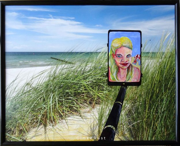 Selfie Life (After) I have added the imaginary experience and perspective of a woman taking selfies of her beach holiday to share on her social media.
