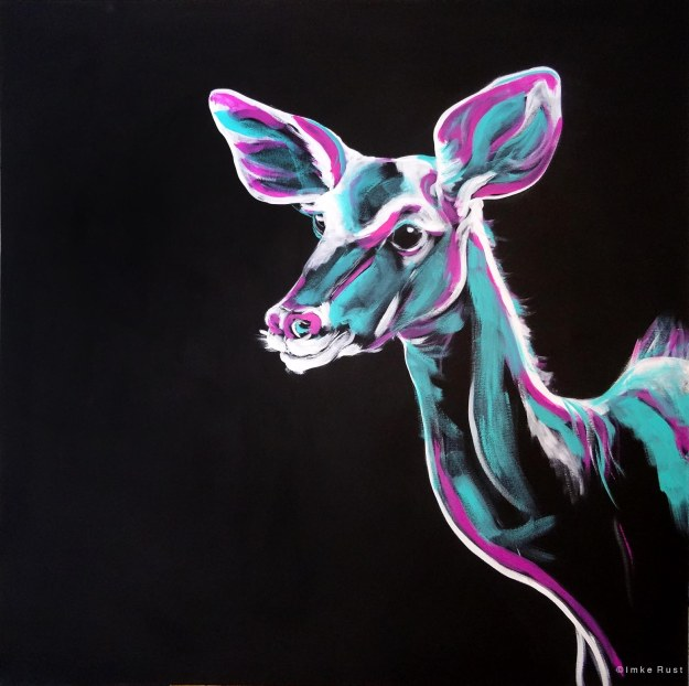 (Untitled (Kudu on black background), Acrylic on canvas, 100x100cm)