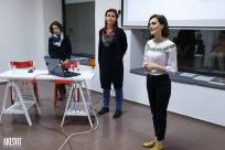 Presenting my art and film on Friday night. With Iryna Polikarchuk and the translator, Olga Tregubova.Photo by Artsvit Gallery