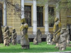 Ancient Baba sculptures in front of the museum. Baba refers to grandmother.