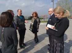 Location scouting and discussion with the German General Consul Mr Mössinger, the city architect Mr Volik, Mr Bazarenko (architect) and representatives from the gallery
