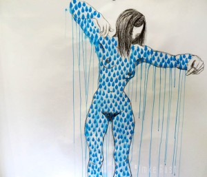 The Rainmakeress (Imke Rust) Acrylic and graphite on paper 105x130cm