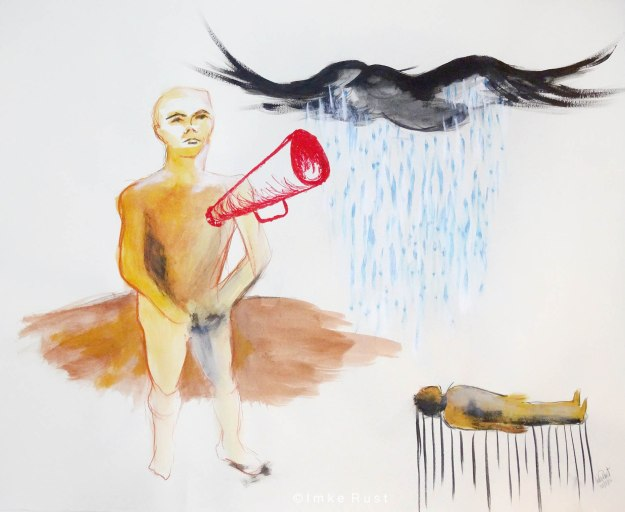 Calling the Rainbird by Imke Rust,  Mixed Media on paper, 62x87cm